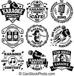 Vector set of Karaoke labels, badges