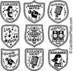 Vector set of Karaoke labels, badges etc.