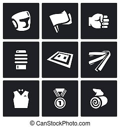 Vector Set of Karate Icons. Helmet, Flags, Fist, Makiwara, Tatami, Belt, Judge, Medal, Bandage.