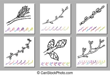 Vector Set of Kidney bud black pattern in the plant design. Hand painted spring garden flora. Black sletch isolated on whie background with gradient colorful elements Trunks and twigs for your design.