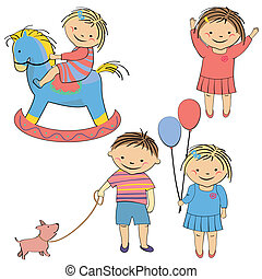 vector set of kids playing
