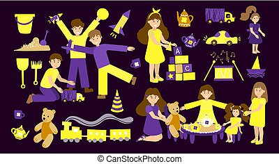 Vector set of kindergarten, children play and nanny. Illustration designer for kindergarten, toy store, baby-sitter, school. Collection of children and toys isolated on a dark background.