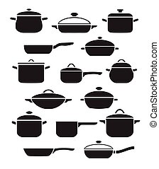 Collection black and white pots and pans with lids.