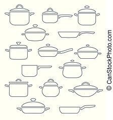 Vector set of kitchen utensils.