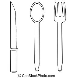 vector set of knife, spoon and fork