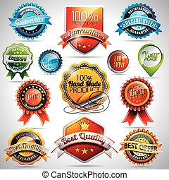 Vector set of labels and badges illustration with shiny...