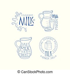 Vector set of labels for dairy products. Sketch style emblems with milk splashes, cardboard packaging, jugs and glass with cookies