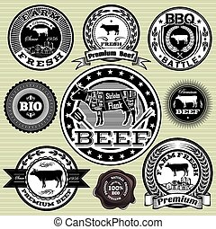 vector set of labels with cow and b