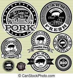 vector set of labels with pig and p