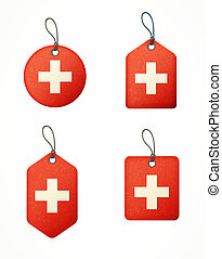 vector set of labels with swiss flag