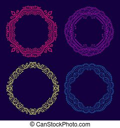 Vector set of lace circle floral frames.