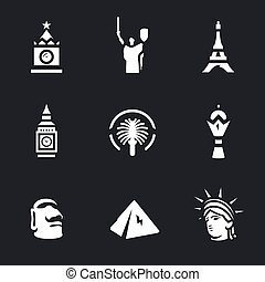 Vector Set of Landmark Icons. - Russia, Ukraine, France,...