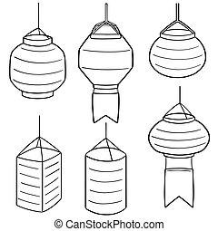 vector set of lantern