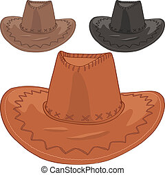 vector set of leather cowboy hats