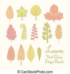 Vector set of leaves in cartoon style