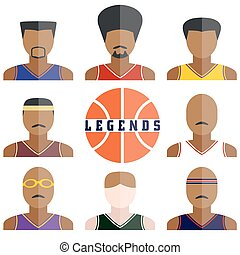 Vector set of legend basketball players icons in flat design