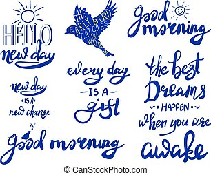 VECTOR set of lettering: ' good morning ' on white.