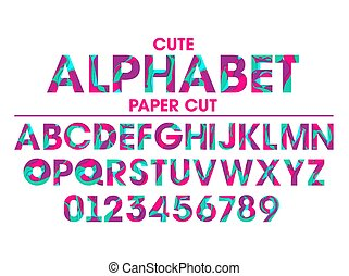 Vector Set of Letters and Numbers in paper cut style.
