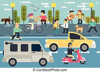 Vector set of Life style Free time Elements flat illustration