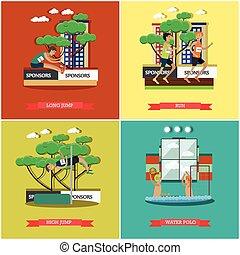 Vector set of light athletics and aquatics concept flat posters