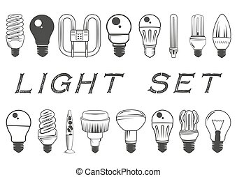 Vector set of light bulbs isolated on white background. Illustration in vintage style. Icons and design elements collection