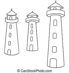 vector set of lighthouse