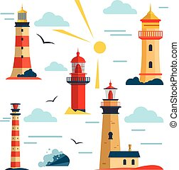 Vector set of lighthouses. Cartoon lighthouse, clouds, sun. Design elements and icons in flat style isolated on white background.