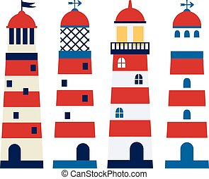 Vector set of lighthouses