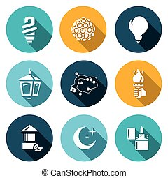 Vector Set of Lighting Icons. Powersave lamp, Lumiere,...