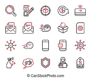 Vector Set of line icons related to Contactless payment, Survey check and Checkbox. Vector