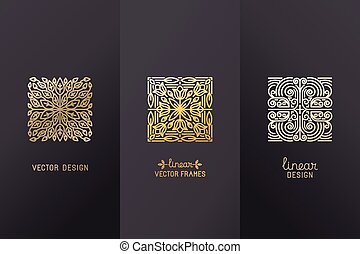 Vector set of linear design elements, logo design templates...