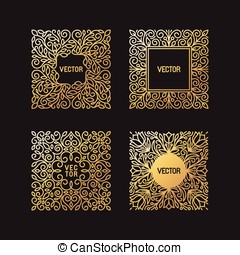 Vector set of linear frames and floral backgrounds with copy space for text - abstract labels for packaging and stationery in vintage hipster style