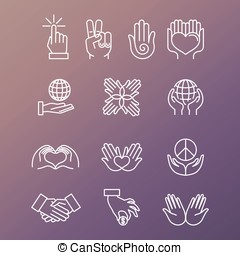 Vector set of linear hand icons and gestures