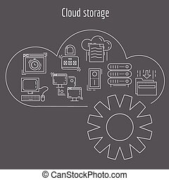 Vector set of linear icons Cloud storage