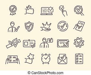 Vector set of linear icons related to approvement - Approval...