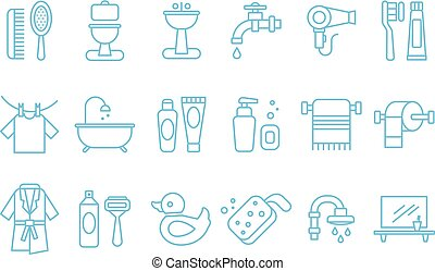Vector set of linear icons related to bathroom and personal...