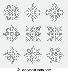 Vector Set of linear Snowflakes. Thin line snowflakes isolated on  light background.