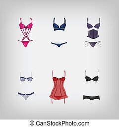 Vector set of lingerie