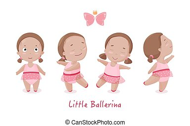 Vector set of little ballerina