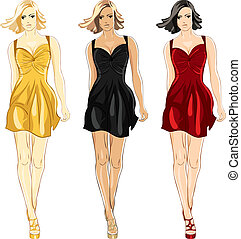 Vector set of Little Dress black, red and gold colors -...