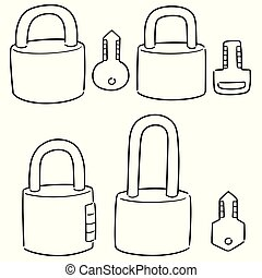 vector set of lock and key