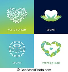 Vector set of logo design templates and badges - nature and...