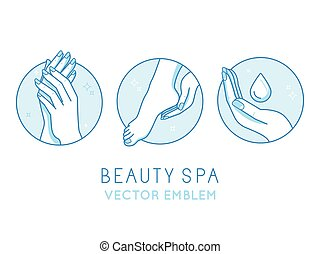 Vector set of logo design templates and infographics design elements for cosmetics