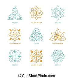 Vector set of logo design templates and symbols in trendy...