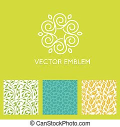 Vector set of logo design templates, seamless patterns