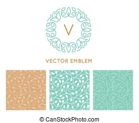 Vector set of logo design templates, seamless patterns and signs for identity, business cards and packaging