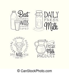Vector set of logos for fresh dairy products. Sketch style emblems with bottles and glass, cow head and jug. Design for milk packaging