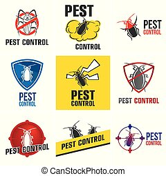 Vector set of logos for pest control company