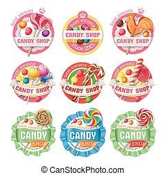 Vector set of lollipop logos, stickers