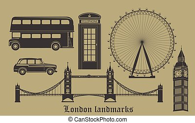 set of London landmarks, Britain symbols isolated